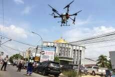 3 Wilayah di Pekanbaru Disemprot Disinfektan Pakai Drone
