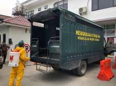 Cegah Corona, Mobil Pengangkut Tahanan dan Kantor Kejari Medan Disemprot Disinfektan