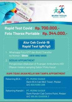 Brosur yang Beredar Via WA Sebut di RS Murni Teguh Ada Rapid Test Corona Rp700.000
