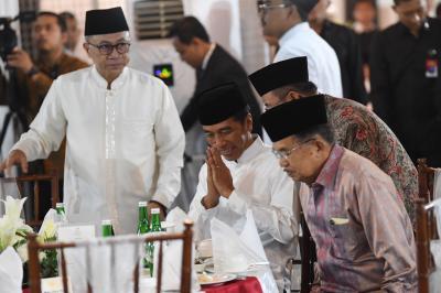 Jokowi-JK Buka Bersama Pimpinan MPR, HNW-Ahmad Muzani Tak Hadir