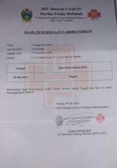 Hasil Swab Warga Tanjungbalai Almarhum T br P Negatif Covid-19